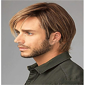 cheap Synthetic Trendy Wigs-Synthetic Wig kinky Straight Pixie Cut Wig Short Light golden Synthetic Hair 12 inch Men's Classic Easy dressing Cool Blonde