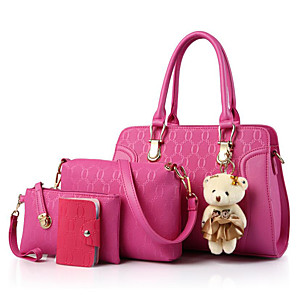 cheap Women's Heels-Women's Bags PU Leather Bag Set 4 Pieces Purse Set Bear for Daily Black / Blue / Red / Bag Sets