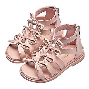 cheap Kids' Sandals-Girls' Sandals Comfort PU Marten Sandals Little Kids(4-7ys) Black / Pink / Beige Summer
