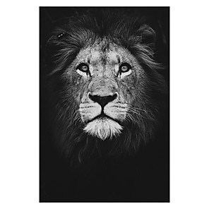 cheap Prints-Print Rolled Canvas Prints - Animals Still Life Modern Art Prints Animal Wall Art Black and White Lion Zebra Elephant Poster Painting Art Graphic Cuadros Home Decoration for Living Room
