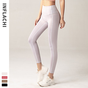 cheap Running Bags-INFLACHI Women's High Waist Running Tights Leggings Compression Pants Athletic Base Layer Leggings Bottoms Gym Workout Running Jogging Training Tummy Control Butt Lift Breathable Sport White Black