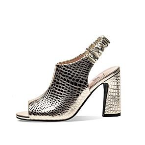 cheap Women's Sandals-Women's Sandals Summer Cuban Heel Open Toe Daily PU Black / Gold