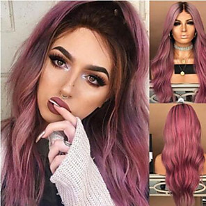 cheap Synthetic Trendy Wigs-Synthetic Wig Curly Middle Part Wig Very Long Bright Purple Synthetic Hair 26 inch Women's Sexy Lady Middle Part curling Purple