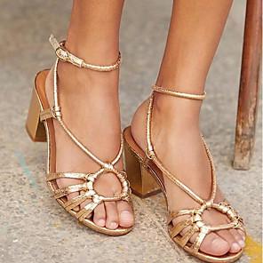 cheap Women's Sandals-Women's Sandals Summer Block Heel Peep Toe Daily PU Gold / Brown