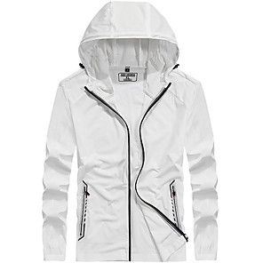 cheap Softshell, Fleece & Hiking Jackets-Men's Hiking Skin Jacket Hiking Jacket Summer Outdoor Windproof Sunscreen Breathable Quick Dry Jacket Top Elastane Single Slider Running Hunting Fishing White / Grey / Blue / Light Blue