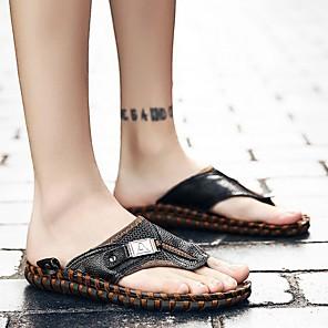 cheap Men's Slip-ons & Loafers-Men's Summer Outdoor Slippers & Flip-Flops Cowhide Non-slipping Black / Brown