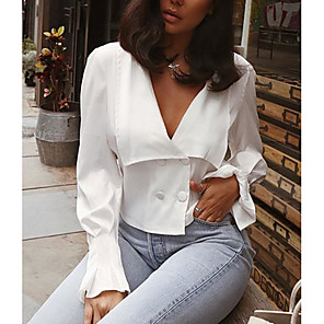 cheap Athletic Swimwear-Women's Solid Colored Asymmetric Shirt Daily V Neck White