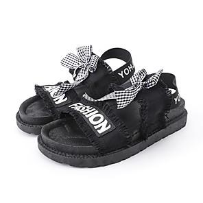 cheap Women's Sandals-Women's Sandals Flat Sandal Summer Flat Heel Open Toe Casual Daily Outdoor Bowknot Slogan Canvas White / Black