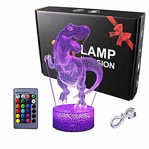 cheap 3D Night Lights-Dinosaur Gifts Night Light  3D Lamp Lighting Lights for Kids 7 LED Color Changing Touch Table Desk Lamps Cool Toys Gifts Birthday Xmas Decoration