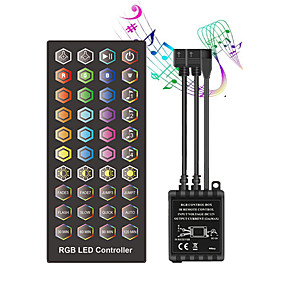 cheap LED Strip Lights-ZDM Double outgoing line Infrared Timed Music Controller - LED Music Controller 40 keys IR Remote Controller Sound Sensor Controller for RGB Strip Lights DC12V