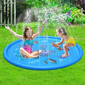 hesapli Şişme Botlar ve Havuz Şezlongları-Sıçrama Pedi Çocuklar İçin Yağmurlama Sistemi Çocuk Havuzları Su Oyuncakları Şişme havuz Çocuk Bebek Havuzu Şişme Yüzme Havuzu Şişirilebilir PVC Yaz Shark Dış mekan Havuz 68 Inch Erkek ve kızlar