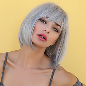 cheap Synthetic Trendy Wigs-Synthetic Wig Bangs Straight Natural Straight Side Part Neat Bang With Bangs Wig Short Sliver White Synthetic Hair 12 inch Women's Cosplay Women Synthetic Silver HAIR CUBE / African American Wig