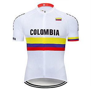 cheap Cycling Jerseys-21Grams Men's Short Sleeve Cycling Jersey Spandex Polyester Red / White Columbia National Flag Bike Jersey Top Mountain Bike MTB Road Bike Cycling UV Resistant Breathable Quick Dry Sports Clothing