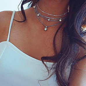 cheap Choker Necklaces-Women's Choker Necklace Chrome Silver 40 cm Necklace Jewelry 1pc For Daily