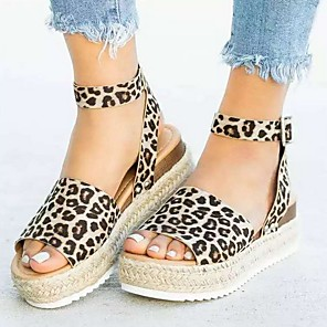cheap Women's Sandals-Women's Sandals Wedge Sandals Summer Wedge Heel Open Toe Daily PU Light Brown / White / Black / Animal Print