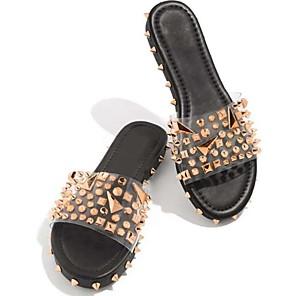 cheap Women's Sandals-Women's Slippers & Flip-Flops 2020 Spring &  Fall / Spring & Summer Flat Heel Open Toe Sweet Preppy Daily Outdoor Beading PU Black / Beige / Clear / Transparent / PVC