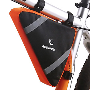 cheap Bike Frame Bags-2.6 L Bike Frame Bag Top Tube Multifunctional Reflective Waterproof Bike Bag Terylene Bicycle Bag Cycle Bag Similar Size Phones Outdoor Exercise
