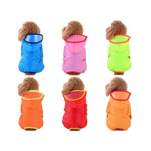 cheap Dog Clothes-Dog Rain Coat Solid Colored Waterproof Outdoor Dog Clothes Red Blue Pink Costume Baby Small Dog Nylon XS S M L XL