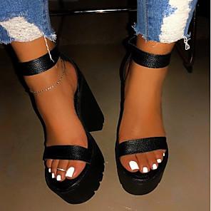 cheap Women's Sandals-Women's Sandals Summer Block Heel Open Toe Daily PU Black