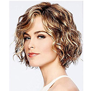 cheap Synthetic Trendy Wigs-Synthetic Wig Curly Hathaway Layered Haircut Wig Short Chocolate Synthetic Hair 12 inch Women's Women Synthetic Sexy Lady Dark Brown Gold Blonde Ombre hairjoy