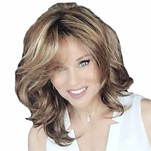 cheap Synthetic Trendy Wigs-Synthetic Wig Curly Matte Side Part Wig Short Light Brown Synthetic Hair 14 inch Women's Easy to Carry curling Fluffy Light Brown