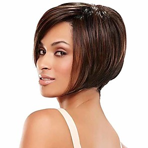 cheap Synthetic Trendy Wigs-Synthetic Wig Straight Matte Bob Wig Short sepia Synthetic Hair 14 inch Women's Easy dressing Best Quality Comfortable Brown