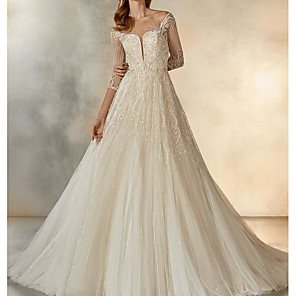 cheap Toy Cars-A-Line Wedding Dresses Jewel Neck Sweep / Brush Train Lace Tulle Half Sleeve Formal See-Through with Crystals Embroidery 2020