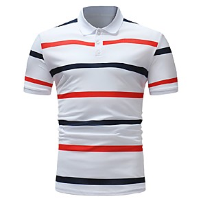 cheap Synthetic Lace Wigs-Men's Polo Striped Tops Cotton Business Basic Shirt Collar White Navy Blue / Short Sleeve / Work
