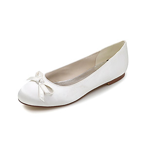 cheap Wedding Shoes-Women's Wedding Shoes Spring / Summer Flat Heel Round Toe Sweet Wedding Party & Evening Bowknot Solid Colored Satin White / Black / Purple