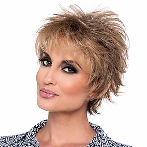 cheap Synthetic Trendy Wigs-Synthetic Wig Curly Matte Pixie Cut Wig Short Light Brown Synthetic Hair 6 inch Women's Best Quality curling Fluffy Brown