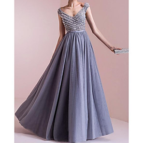 cheap Women's Heels-A-Line Elegant Sparkle Engagement Formal Evening Dress Scoop Neck Sleeveless Floor Length Chiffon with Pleats Beading 2020