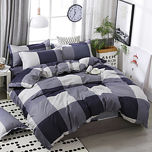 cheap Solid Duvet Covers-Simple style box splice printing pattern bedding four-piece quilt cover bed sheet pillow cover dormitory single double
