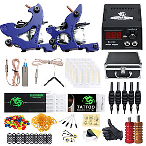cheap Tattoo Machines-DRAGONHAWK Professional Tattoo Kit Tattoo Machine - 2 pcs Tattoo Machines LCD power supply 2 cast iron machine liner & shader / Case Included