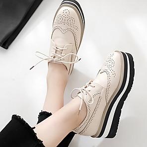cheap Women's Boots-Women's Oxfords Spring & Summer Wedge Heel Round Toe Daily PU Black / Beige