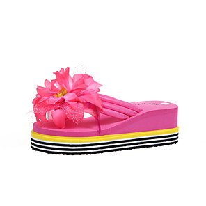 cheap Women's Sandals-Women's Slippers & Flip-Flops 2020 Spring &  Fall / Spring & Summer Wedge Heel Open Toe Casual Minimalism Daily Beach Flower PU Yellow / Fuchsia / White