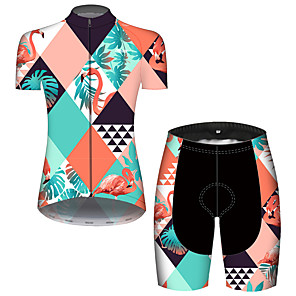 cheap Cycling Jerseys-21Grams Women's Short Sleeve Cycling Jersey with Shorts Blue+Yellow Flamingo Floral Botanical Bike Breathable Quick Dry Sports Flamingo Mountain Bike MTB Road Bike Cycling Clothing Apparel
