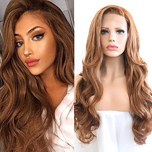 cheap Synthetic Trendy Wigs-Synthetic Lace Front Wig Wavy Side Part Lace Front Wig Blonde Long Golden Brown / Ash Blonde Synthetic Hair 18-26 inch Women's Cosplay Soft Adjustable Blonde
