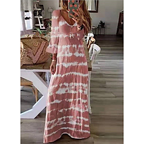 cheap Wall Stickers-Women's Plus Size Maxi long Dress - Long Sleeve Tie Dye Print Spring Summer V Neck Casual Holiday Vacation Loose 2020 Black Blushing Pink Khaki Green Dusty Blue Gray S M L XL XXL XXXL XXXXL XXXXXL