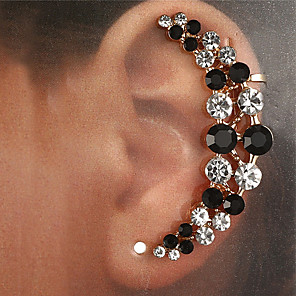 cheap Earrings-Women's Clear Black Ear Cuff Earrings Classic Lucky Classic Elegant Trendy Fashion Colorful Imitation Diamond Earrings Jewelry Gold / Silver For Daily Street Club Bar 1pc