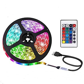 cheap LED Strip Lights-2m LED Strip Lights Light Sets RGB Tiktok Lights 60 LEDs 5050 SMD 1 24Keys Remote Controller 1pc RGB+White Christmas New Year's Waterproof USB Decorative USB Powered