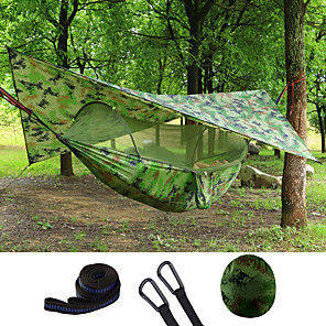 cheap Camping Furniture-Double Hammock Camping Hammock with Pop Up Mosquito Net Hammock Rain Fly Outdoor Waterproof Sunscreen Anti-Mosquito Heavy Duty Parachute Nylon with Carabiners and Tree Straps for 2 person Camping