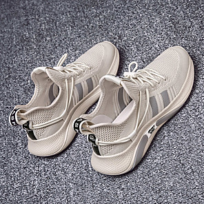 cheap Men's Sneakers-Men's Summer Sporty / Casual Daily Outdoor Trainers / Athletic Shoes Walking Shoes Knit Breathable Non-slipping Wear Proof Black / Beige