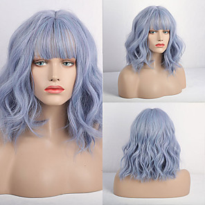 cheap Synthetic Lace Wigs-Synthetic Wig Matte Loose Curl Neat Bang Wig Short Purple / Blue Synthetic Hair 14 inch Women's Simple curling Fluffy Blue
