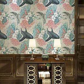 cheap Wallpaper-Custom Self-Adhesive Mural Wallpaper Pale Children Cartoon Whales Suitable For Bedroom Living Room Wall Decoration Art Cartoon  Modern Wall Covering  Art Deco