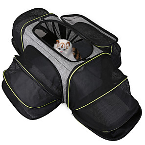 cheap Dog Travel Essentials-Dog Cat Pets Cages Travel Carrier Bag Airline Approved Pet Carrier Breathable Washable Travel Color Block Fashion Terylene Gray
