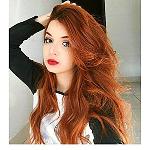 cheap Synthetic Lace Wigs-Synthetic Lace Front Wig Wavy Middle Part Lace Front Wig Long Brown Synthetic Hair 18-26 inch Women's Cosplay Soft Adjustable Brown