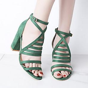 cheap Women's Sandals-Women's Sandals Summer Chunky Heel Open Toe Daily PU Black / Green