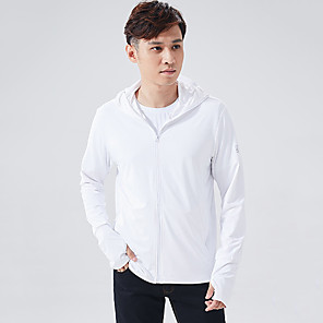 cheap Softshell, Fleece & Hiking Jackets-Men's Hiking Skin Jacket Hiking Jacket Hiking Windbreaker Summer Outdoor Sunscreen Breathable Quick Dry Anti-Mosquito Jacket Top Elastane Single Slider Running Hunting Fishing White / Light Grey