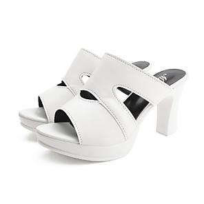 cheap Women's Sandals-Women's Heels / Clogs & Mules Summer Pumps Open Toe Minimalism Daily Outdoor PU White / Black