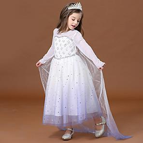cheap Movie & TV Theme Costumes-Princess Elsa Dress Flower Girl Dress Girls' Movie Cosplay A-Line Slip White Dress Children's Day Masquerade Tulle Polyester